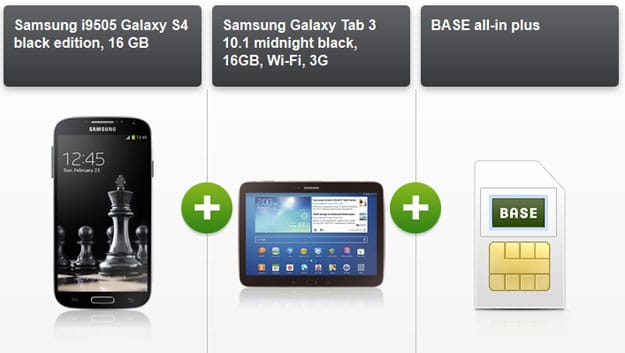 BASE all-in Plus mit Samsung Galaxy S4 + Samsung Galaxy Tab 3 (10.1)
