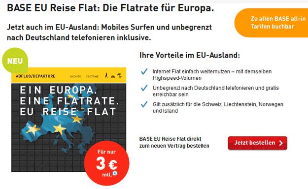 BASE EU Reise Flat für 3 € im Monat günstig nach Deutschland und im EU-Ausland telefonieren und surfen