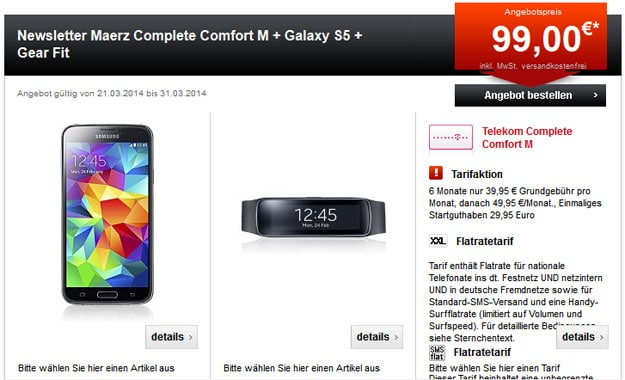 Telekom Complete Comfort M Friends + Samsung Galaxy S5 mit Galaxy Gear Fit, iPhone 5s u.a.