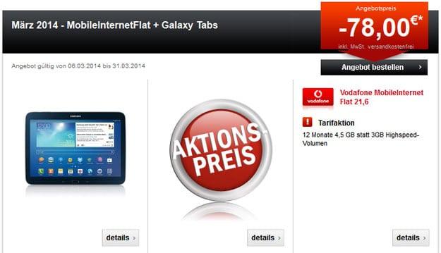 Vodafone Datentarife mit Samsung Galaxy Tablets oder iPad Air bzw. Mini 2 mit Retina Display und bis zu 78 € Auszahlung