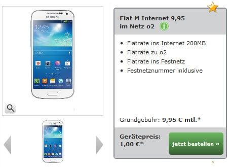 o2 Flat M Internet mit Samsung Galaxy S4 Mini