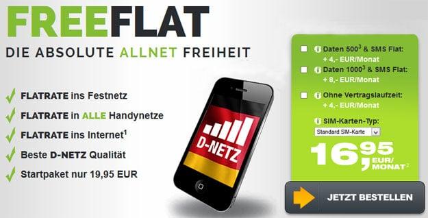 FreeFlat Allnet-Flat im Telekom-Netz ohne Mindesvertragslaufzeit