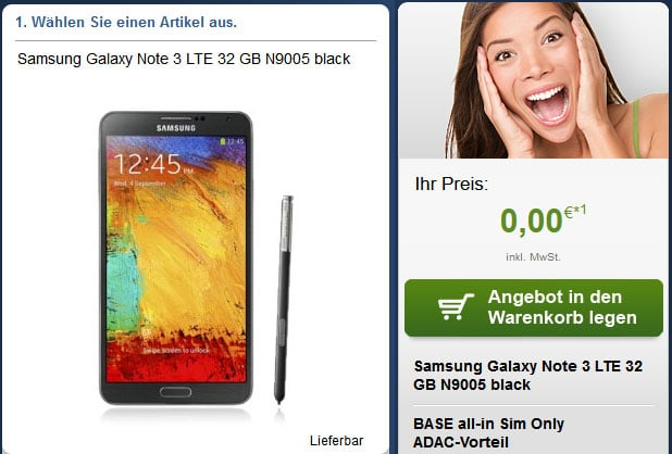 Galaxy Note 3 mit BASE all-in