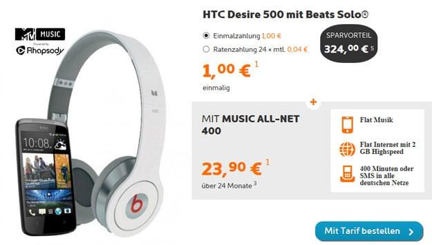 HTC Desire 500 mit Beats by Dr Dre Solo Kopfhörern und simyo Music Allnet 400