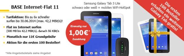BASE Internet Flat 11 mit zwei Samsung Galaxy Tab 3 (7.0)