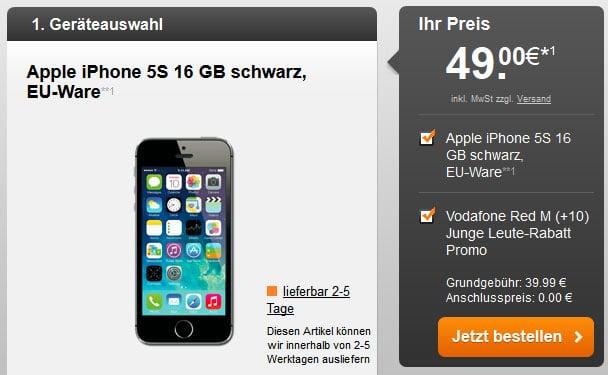 Vodafone RED M u.a. mit Samsung Galaxy S5 und iPhone 5s