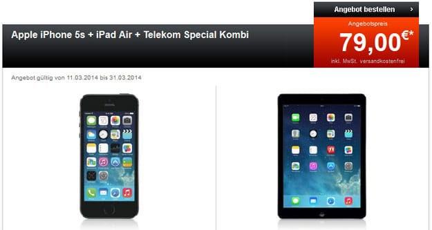 Telekom Special Allnet mit Multicard + iPhone 5s und iPad Air