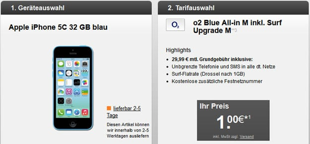 o2 Blue All-in M mit iPhone 5c 32GB u.a.