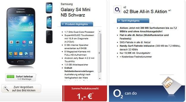 o2 Blue All-in S mit u.a. Samsung Galaxy S4 Mini