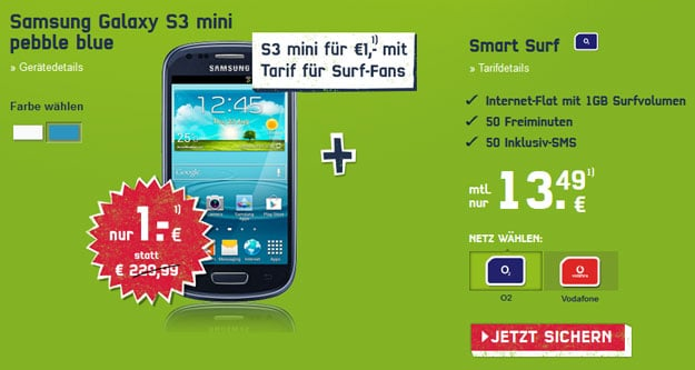 o2 Smart Surf mit Samsung Galaxy S3 Mini