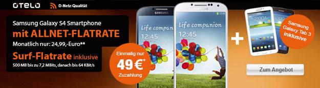 Otelo Allnet-Flat M mit Samsung Galaxy S4 + Galaxy Tab 3 (7.0)