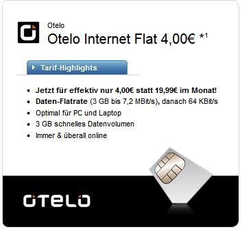Otelo Internet Flat M für 4 Euro dank Auszahlung