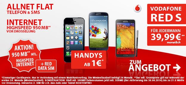 Vodafone Red S mit 950 MB LTE Datenflat Aktion