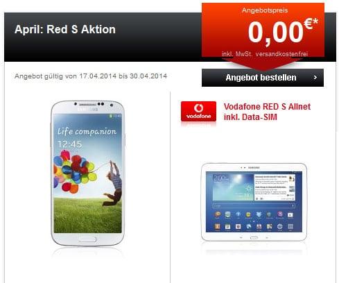 Vodafone Red S mit Samsung Galaxy S4, S5 und Galaxy Tab 3