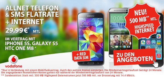 Vodafone Red XS mit 500 MB LTE