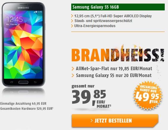 Samsung Galaxy S5 mit Klarmobil Allnet-Flat