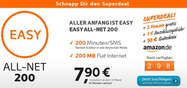 Simyo All-Net 200 mit 50 € Amazon-Gutschein