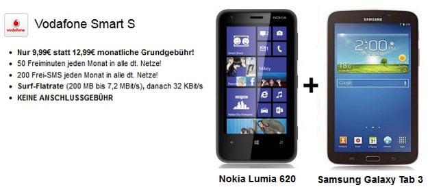 Vodafone Smart S + Nokia Lumia 620 + Samsung Galaxy Tab 3 (7.0)