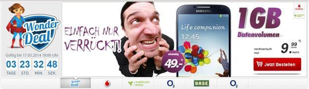 Vodafone Smart Surf u.a. mit Samsung Galaxy S4 Mini