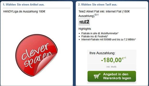 Tele2 Allnet-Flat mit 180 € Auszahlung
