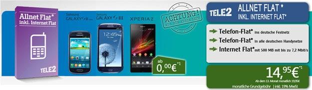 Tele2 Allnet Flat mit Sony Xperia Z, Samsung Galaxy S3 und Galaxy S4 Mini