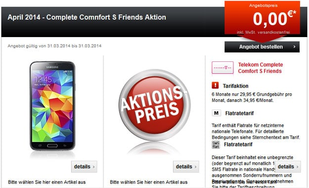 Telekom Complete Comfort S Friends + u.a. Samsung Galaxy S5, HTC One (M8), iPhone 5s