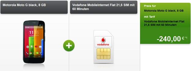 Vodafone Datentarif 21,6 mit Auszahlung und u.a. Motorola Moto G