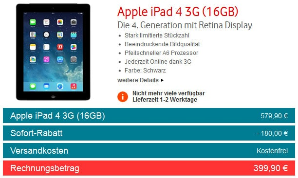 iPad 4 Gen. 16GB WiFi + 4G bei Vodafone