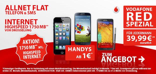 Vodafone Red S mit gigantischer 1750 MB Internetflat