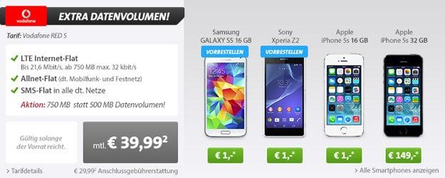Vodafone RED S im Live-Deal mit Samsung Galaxy S5 und Sony Xperia Z2 u.a.