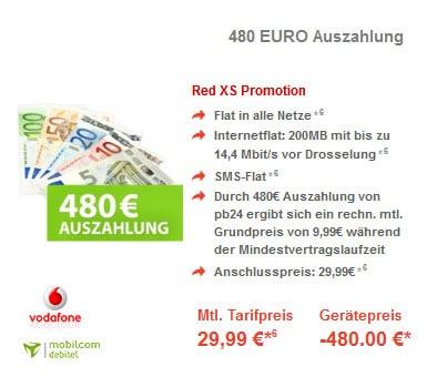 Vodafone RED XS mit 480 € Auszahlung