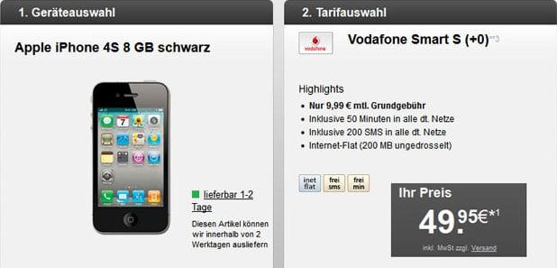 Vodafone Smart S mit bis zu 31 € Ersparnis - mit iPhone 4S u.a.