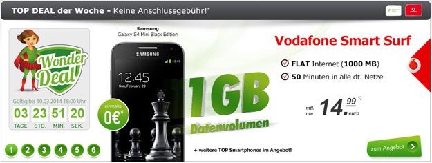Vodafone Smart Surf (mobilcom-debitel) u.a. mit Samsung Galaxy S4 Mini Black Edition