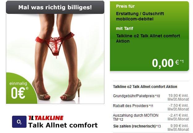 Talkline Talk Allnet Comfort für 9,99 EUR