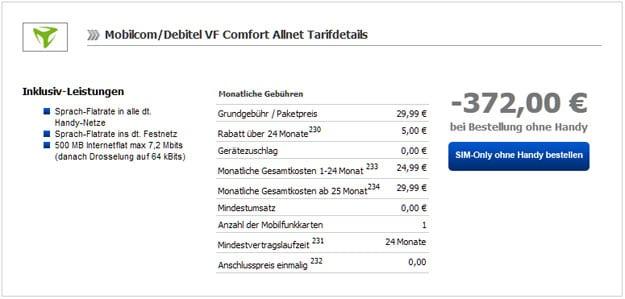 Vodafone Comfort Allnet für 9,49 EUR