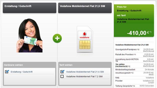 Vodafone Datenflat - 410 EUR Auszahlung