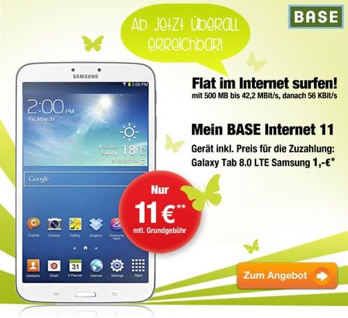 BASE Internet u.a. mit Samsung Galaxy Tab 3 (8.0) LTE