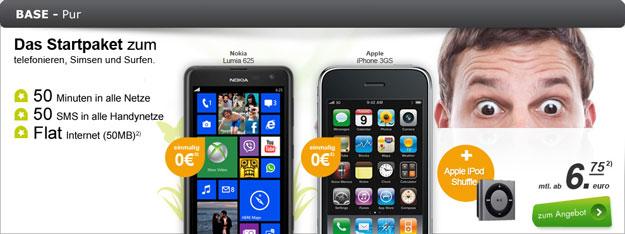 BASE pur mit iPhone 3GS und iPod Shuffle mit bis zu 24 € Gewinn
