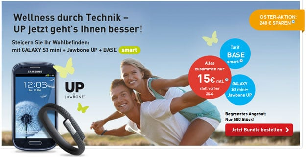 BASE mit Samsung Galaxy S3 Mini und UP Jawbone