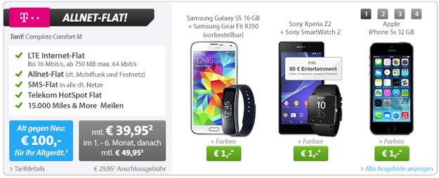 Telekom Complete Comfort M mit z.B. Samsung Galaxy S5 und Gear Fit