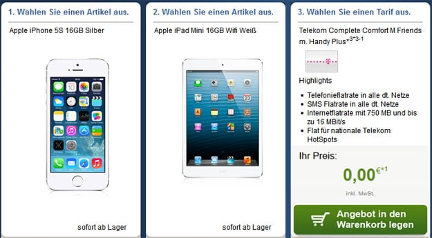 Telekom Complete Comfort M Friends Plus mit iPhone 5s und iPad Mini