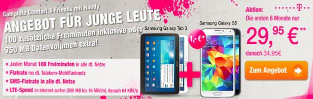 Telekom Complete Comfort S Friends mit Samsung Galaxy S5 und Galaxy Tab 3 (10.1) WiFi