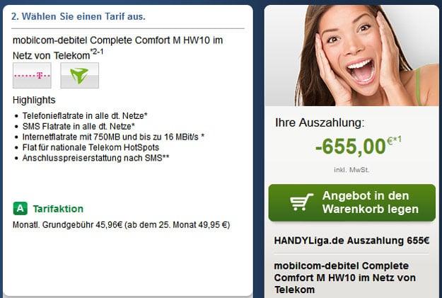 Telekom Complete Comfort M (md) mit 655 € Auszahlung