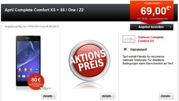 Telekom Complete Comfort XS u.a. mit Sony Xperia Z2