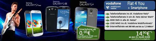 mobilcom-debitel Vodafone Flat 4 You mit Samsung Galaxy S4, S3
