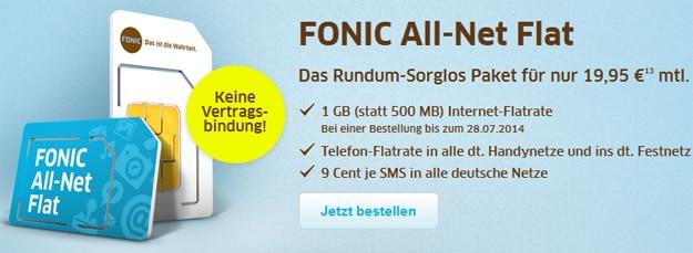 Fonci Allnet-Flat mit 1 GB Internetflat
