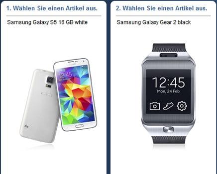 Samsung Galaxy S5 mit Samsung Galaxy Gear 2 und Telekom Complete Comfort M Friends