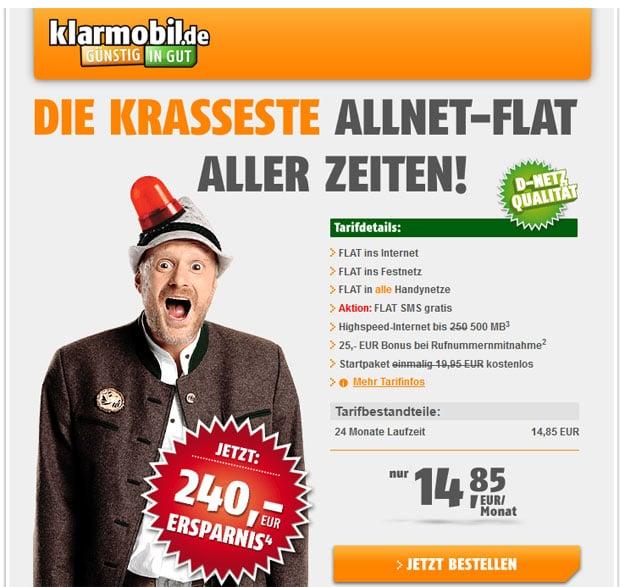 Klarmobil Allnet-Flat im Telekom-Netz