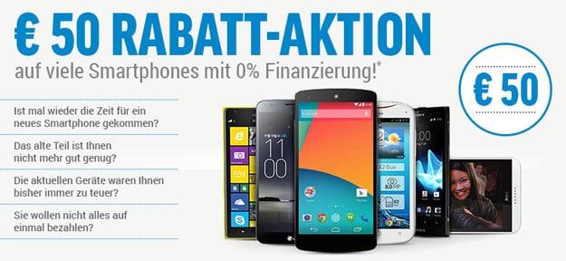 50 € Rabatt auf alle Smartphones ab 149 €