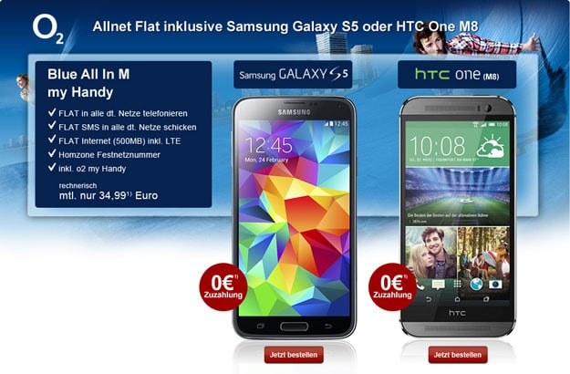 o2 Blue All-in M mit Samsung Galaxy S5 und HTC One (M8)